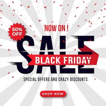 Black friday-verkoopbanner met kortingsdetails voor website en sociale media
