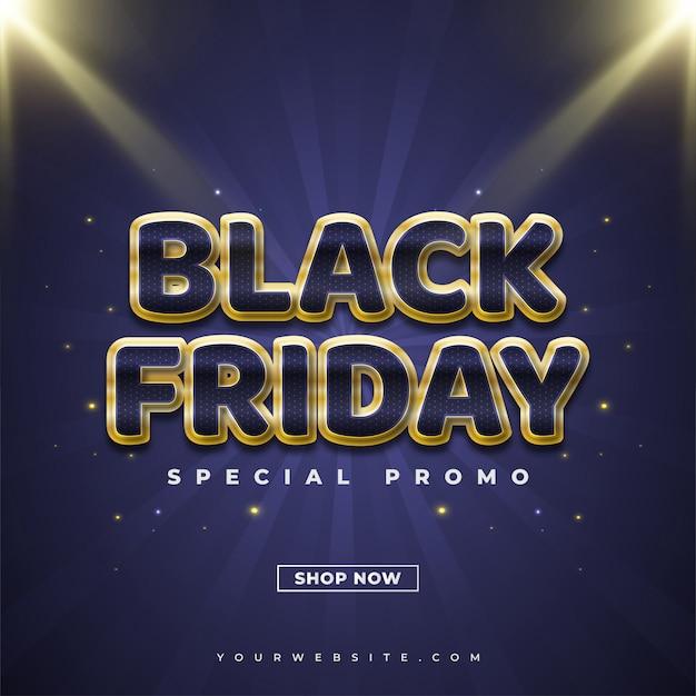 Black friday-verkoopbanner met luxe 3d tekst met glanzend gouden licht