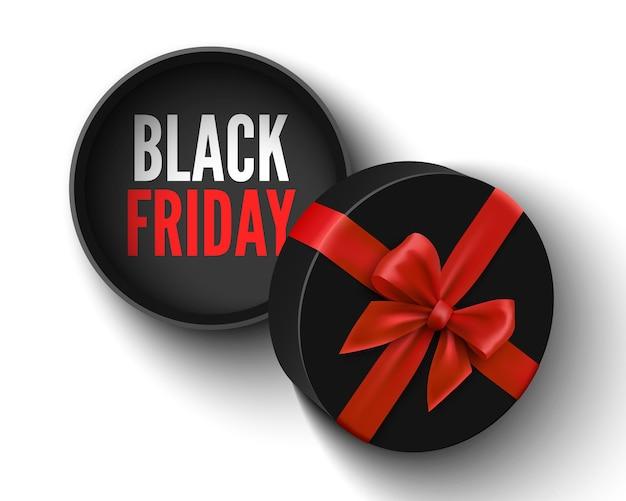 Black friday-verkoopbanner met open gift ronde doos en rode boog