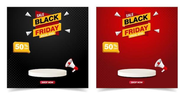 Black friday-verkoopbanner met podiumsjabloonontwerp