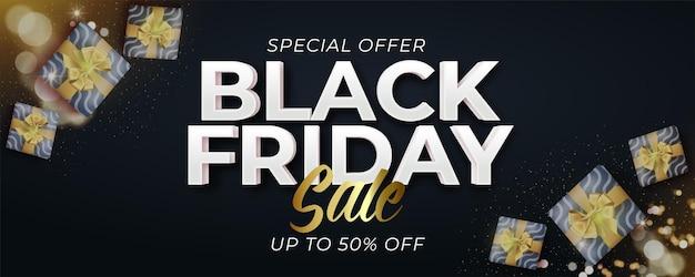 Black friday-verkoopbanner met realistische geschenkverpakkingen