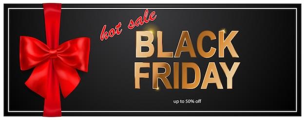 Black friday-verkoopbanner met rode boog en linten op donkere achtergrond. vectorillustratie voor posters, flyers of kaarten.