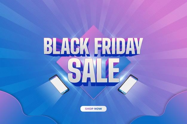 Black friday-verkoopbanner met smartphonelichten