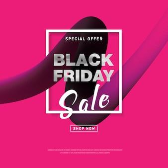 Black friday-verkoopbanner met vloeibare vormen