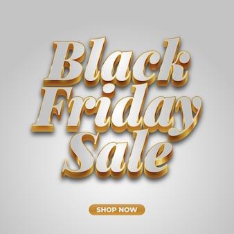 Black friday-verkoopbanner met witte en gouden tekst
