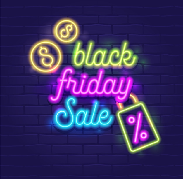 Black friday-verkoopbanner met zeer gedetailleerde realistische neon gloeiende typografie