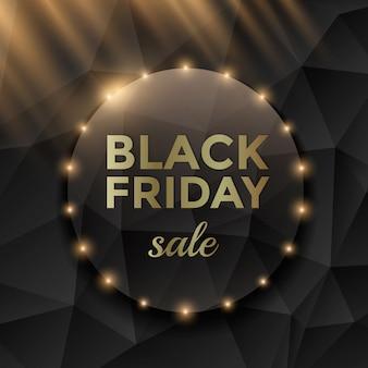 Black friday-verkoopbanner met zwarte driehoeksachtergrond en gouden teksten.