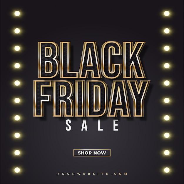 Black friday-verkoopbanner met zwarte en gouden tekst en gloeiende lichten