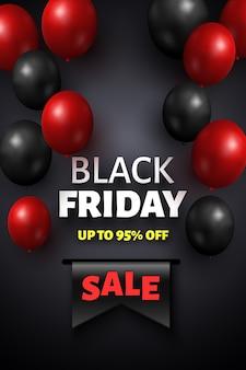Black friday-verkoopbanner met zwarte en rode ballons.