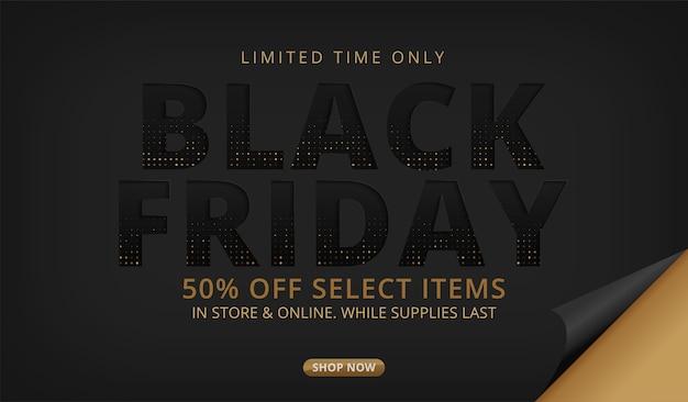 Black friday-verkoopbanner op zwart