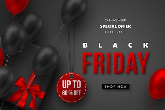 Black friday-verkoopbanner. rode en zwarte realistische glanzende ballonnen, geschenkdoos, kortingslabel en rode 3d-tekst. zwarte achtergrond. vector illustratie.