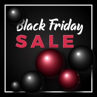 Black friday-verkoopbanner. volumetrische en elegante zwarte en rode glanzende bubbels of ballen op zwart.