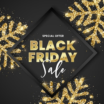 Black friday-verkoopbanner, zwart frame en gouden glitter sneeuwvlokken op zwarte achtergrond.
