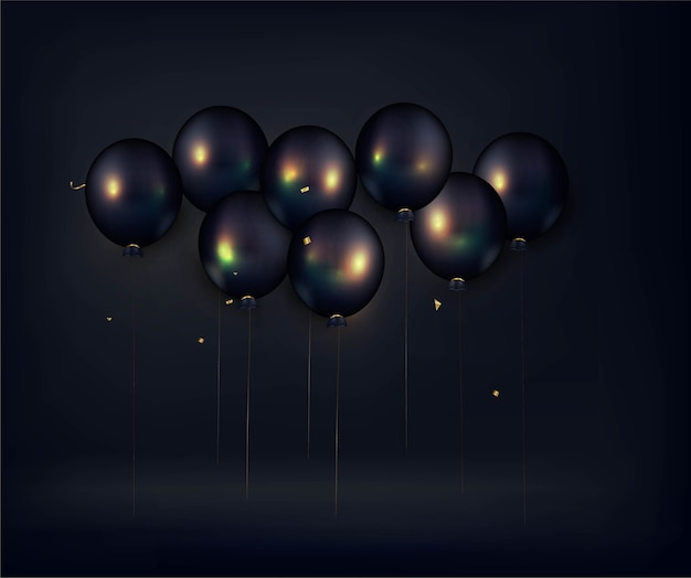 Black friday-verkoopbanner. zwarte ballondecoratie