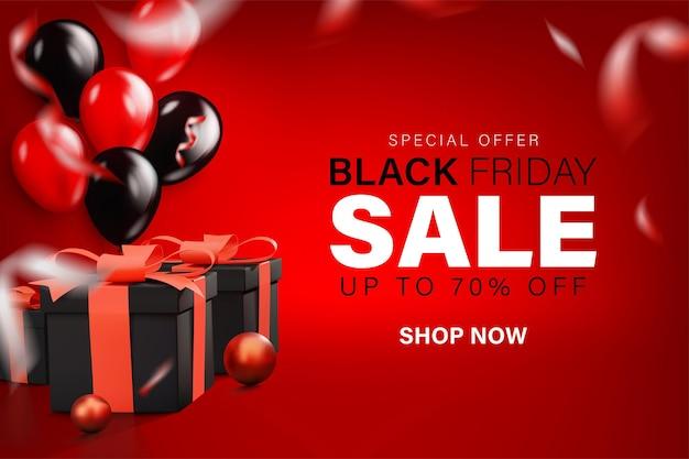 Black friday-verkoopbannerachtergrond met realistisch lint van de geschenkendoos