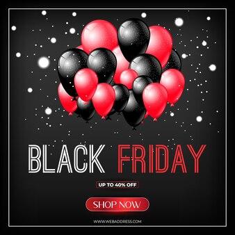 Black friday-verkoopbannerontwerp met baloons
