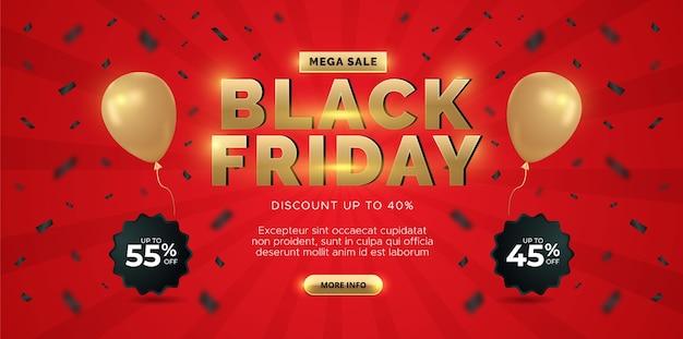 Black friday-verkoopbannerontwerp. rode achtergrond met gouden ballon.