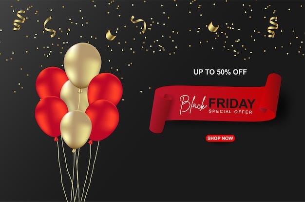 Black friday-verkoopbannersmalplaatje met ballon