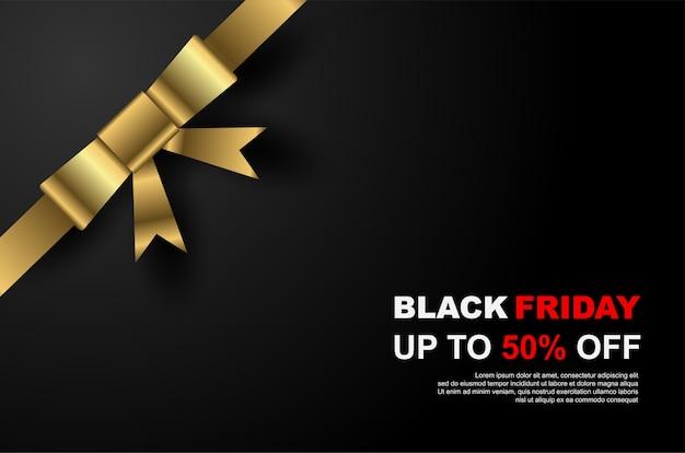 Black friday-verkoopbannersmalplaatje met gouden lint