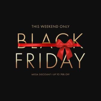 Black friday-verkoopconcept met rode boog