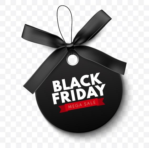 Black friday-verkoopetiket met een zwarte boog en een zwart lint dat op witte achtergrond wordt geïsoleerd
