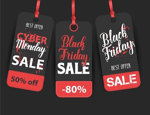 Black friday-verkoopetiket met handgemaakt citaat. handgeschreven moderne borstel belettering van black friday, cyber monday. beste aanbieding.