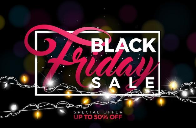 Black friday-verkoopillustratie met verlichtingsslinger op donkere achtergrond