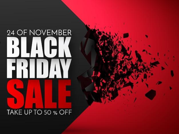 Black friday-verkoopinschrijving met explosief effect