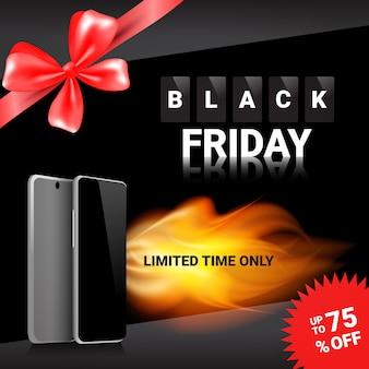 Black friday-verkoopmalplaatje vierkante bannerkortingen op moderne slimme telefoons