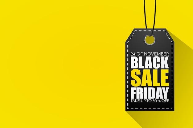 Black friday-verkoopmarkering die op geel wordt geïsoleerd