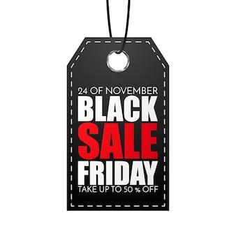 Black friday-verkoopmarkering die op wit wordt geïsoleerd