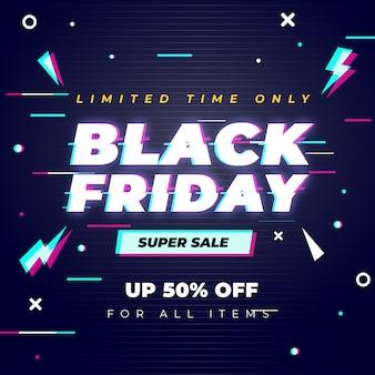 Black friday-verkoopontwerp met glitcheffect