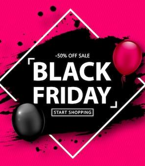 Black friday-verkoopposter. kortingsbanner met ballons en zwart grungekader