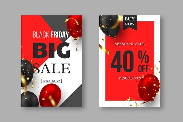 Black friday-verkoopposters. 3d-rode en zwarte realistische glanzende ballonnen met gouden serpentine. grijze, witte en rode achtergrond. vector illustratie.
