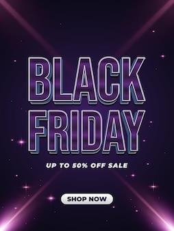 Black friday-verkooppromotiebanner of poster met kleurrijke tekst en glanzende lichten