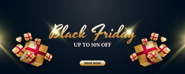 Black friday-verkoopsjabloon voor spandoek met gouden geschenkdoos op donkere achtergrond