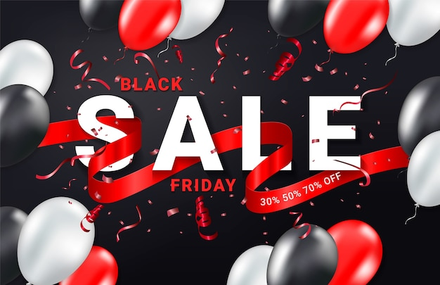 Black friday-verkoopsjabloon voor viering van advertenties. confetti, ballonnen en glitters lint. feestelijke gebeurtenis achtergrond.
