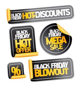 Black friday-verkoopstickers set - hete kortingen, mega-uitverkoop, hete aanbieding, klapband