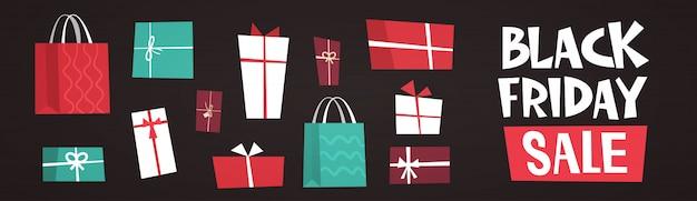 Black friday-verkooptekst over verschillende geschenkdozen