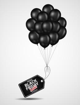 Black friday-verkoopvliegermalplaatje met zwarte ballon.
