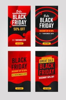 Black friday verticale banner, social media pack-collectie, instagram-verhaalsjabloon