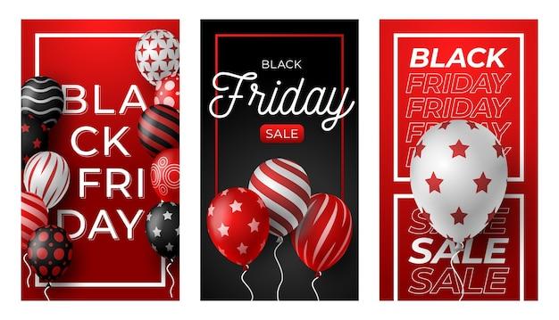 Black friday verticale banner voor verhalen. set van zwarte vrijdag-thema sociale media-verhalen posten banner.