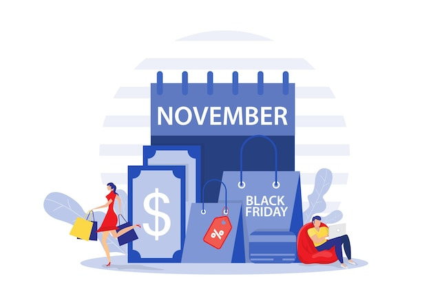 Black friday-winkel, mensen kopen met superkorting, shop online service, promo aankoop marketing illustratie