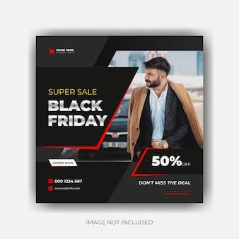 Black friday zakelijke aanbieding sjabloon minimalistisch ontwerp voor sociale media-advertentie