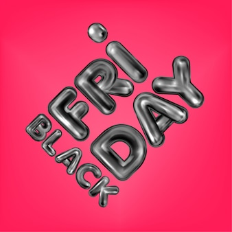 Black friday zwarte latex letters
