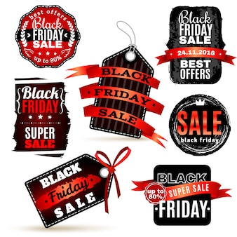 Black fridays labels set