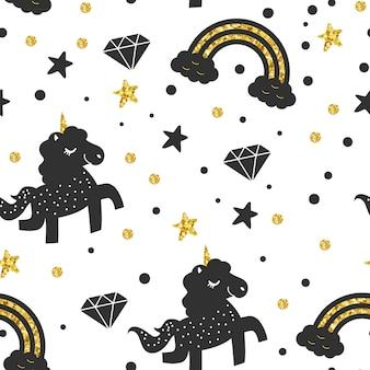 Black gold unicorn pattern