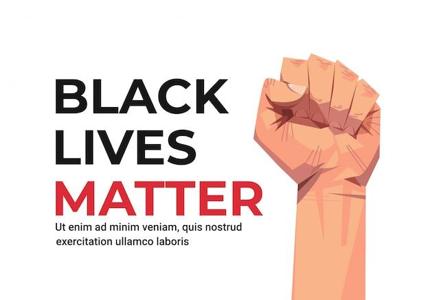 Black lives matter-banner vuistbewustmakingscampagne tegen raciale discriminatie van donkere huidskleur
