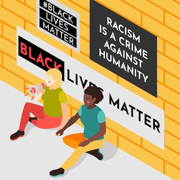 Black lives matter-bewegingsactivisten die slogans uit de luidspreker schreeuwen met anti-raciale kranten