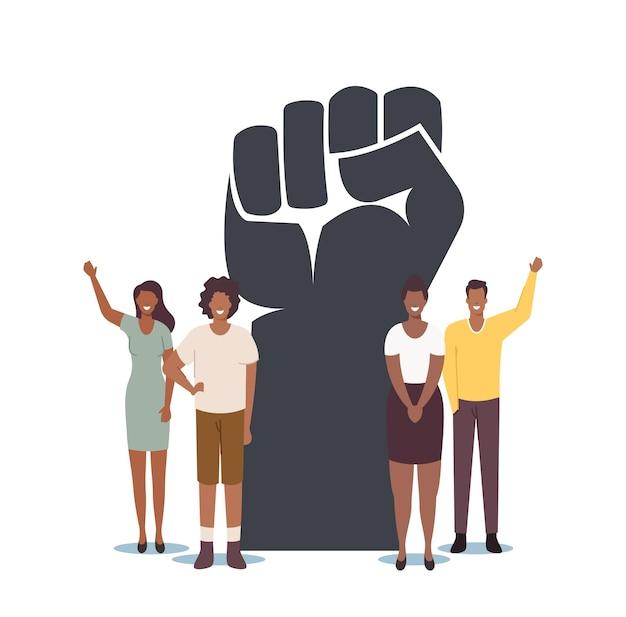 Black lives matter, blm sociaal concept. kleine zwarte karakters rond van enorme opgeheven hand. gelijkheidscampagne tegen rassendiscriminatie van mensen met een donkere huidskleur. cartoon vectorillustratie